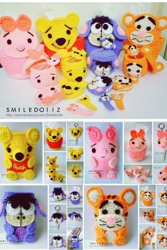 Facebook.com/ideas.SMD cute crochet cozies and containers- winnie the pooh!