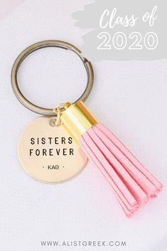 """Gift the sweetest grad tassel keychain to your graduating sisters turning alumnae with this adorable engraved """"Sisters Forever"""" Greek letter keychain. Shop more grad designs and tassel colors at www.alistgreek.com! #grad #gradgifts #sororitygrad #collegegraduation #graduationgifts #graduation #gifts #keychain #tassel #custom #personalized #greekletter #aphi #kkg #kappa #tridelta #deltagamma"""