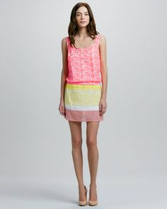 Scoop-Neck Mixed Media Dress by Tracy Reese at Neiman Marcus.