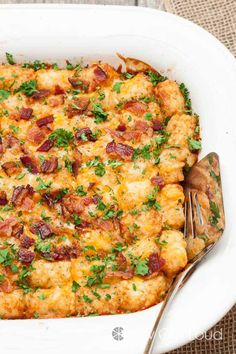 Cheesy Tatertot Breakfast Casserole Swap out hash browns for tater tots and top with crumbled bacon for all kinds of irresistible breakfast goodness. ***RECIPE WAY OFF, FOR 2cups of milk you need to use at least 8 eggs or you going to have tot soup. The rest of the measurements are good.