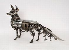 Eco Factor: Old car parts recycled into beautiful sculptures. Even if you give your car for recycling, it will take tons of fuel to melt down the metal to. Toy Art, Steampunk Kunst, Steampunk Airship, Gothic Steampunk, Victorian Gothic, Gothic Lolita, Car Part Art, Steampunk Animals, Sculpture Metal