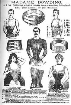 Tiny waists were prized by Victorian men and women according to this corset advertisement. #vintagebeauty