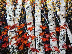 Night Birch by Maya Eventov, Acrylic on Canvas, Painting Create Words, Maya, North America, Appreciation, Stencils, Scene, Night, Gallery, Artwork