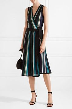 Diane von Furstenberg | Cadenza metallic stretch-knit wrap dress | NET-A-PORTER.COM