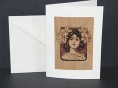 Lady Greeting Cards  Wood Pyrography  Art Nouveau by bkinspired, $6.00