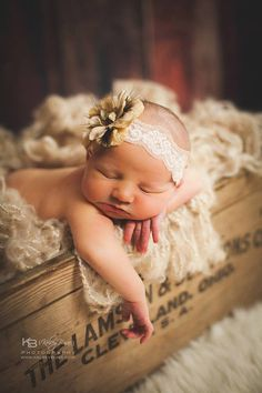 Newborn baby photography prop-crocheted tan lace headband, baby shower gift…