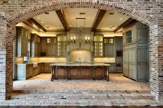 **Love the archway- either brick to stone. Id like for the archway to be the width if the kitchen and probably just the under side if all archways exposed brick it stone to match fireplace. Texas Homes, New Homes, Texas Style Homes, Acadian Style Homes, Acadian House Plans, Southern Homes, Beautiful Kitchens, Beautiful Homes, Brick Archway