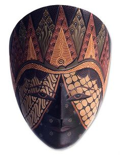 Mahogany batik mask, 'Jogjakarta Sultan' by NOVICA