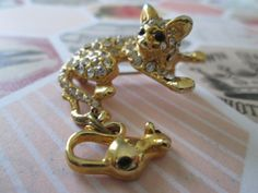 Vintage Gold Tone Crystal Cat & Mouse Brooch by RockALittleVintage