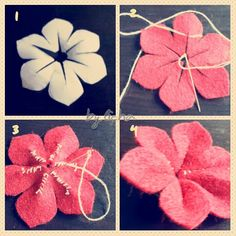 Liza: DIY: how to make cute flowers with felt, post_tags] Felt Crafts Diy, Ribbon Crafts, Felt Diy, Flower Crafts, Fabric Crafts, Felt Flowers, Diy Flowers, Fabric Flowers, Paper Flowers