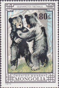 ◇Mongolia  Stamp 1974 -  Asiatic black bear (Selenarctos thibetanus)