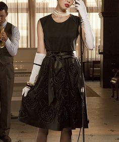 Look at this #zulilyfind! Black Applique Boogie Woogie A-Line Dress by Shabby Apple #zulilyfinds