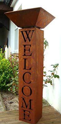 Saule Mit Schale Rost Welcome Willkommen Metall Gartendeko
