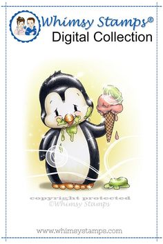 """""""Penguin Ice Cream"""" digital stamp designed by Crissy Armstrong for Whimsy Stamps.All Whimsy Stamps digital image stamps are JPG images for optimal print quality. Files are black and white line art only. Digital images can be flipped, rotate. Penguin Art, Penguin Love, Baby Animal Drawings, Cute Drawings, Whimsy Stamps, Digi Stamps, Christmas Ice Cream, Image Stamp, Teddy Toys"""