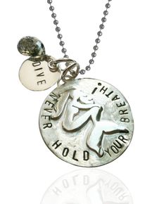 "Sterling Silver Miss Scuba ""Never Hold Your Breath"" Mermaid Dive Necklace, 18 Inch"