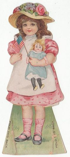 Die cut trade card of a girl with doll for Worcester Salt Co., New York.  7086