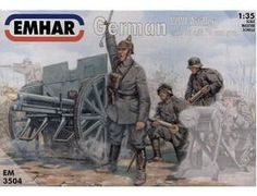 The Emhar German Artillery WWI in 1/35 scale from the plastic figure models range accurately recreates the real life German artillery and crew from World War I.  This plastic figures kit requires paint and glue to complete.