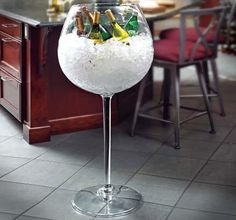 Chill your drinks in classy style at your next party with this giant wine glass cooler! Perfect for all occasions where wine and champagne are served. Giant Wine Glass, Large Wine Glass, Luxury Gifts For Her, Wine Bucket, Bucket Cooler, Wine Chiller, Wine Coolers, In Vino Veritas, Cool Inventions