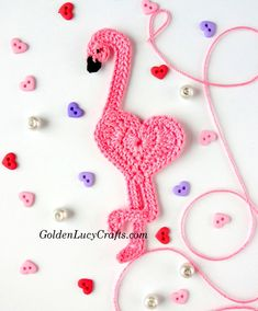 Crochet Flamingo Applique, Heart Shaped, #crochet,  #crochetpattern , free crochet pattern - GoldenLucyCrafts