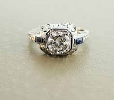 Antique Art Deco 18k White Gold European Cut by SITFineJewelry, $14,500.00