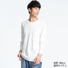 MEN ポケツキルーズフィットクルーネックT(7分袖) | UNIQLO