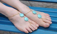 Turquoise round  Goldish barefoot sandal for elegant by HIPPYANNE, $28.00