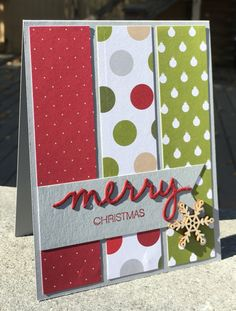 the patterns from the merry moments designer series paper stack 139595 Christmas Cards 2018, Stamped Christmas Cards, Simple Christmas Cards, Christmas Card Crafts, Homemade Christmas Cards, Xmas Cards, Christmas Greetings, Homemade Cards, Holiday Cards