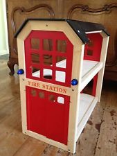 Wooden Fire Station With Fire Truck And Accessaries