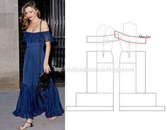 Modelagem de vestido estilo cigana. Fonte: https://www.facebook.com/photo.php?fbid=707894499239491set=a.262773027084976.75978.143734568988823type=1theater
