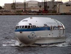 The Cosmic Muffin started it's life as Howard Hughes plane before it was converted into a house boat.