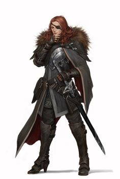 """heroineimages:  bikiniarmorbattledamage:  char-portraits:  The one-eyed female general, by Rocky Su  This is a pretty good great mix of fantasy and practicality. The high heels being about the upper limit of what you could try to explain with the""""they're for riding!"""" And who doesn't love a badass with an eyepatch? - wincenworks  Yeah, the heels bug me as well, being both too long and too narrow to use riding as justification. But the rest is an absolutely stellar cavalrywoman's battle or…"""