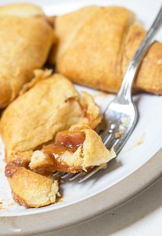 Bite of Caramel Apple Pie Crescents.