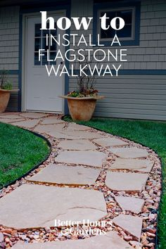 Use flagstones to bring natural beauty to your walkway. This handsome and durable flagstone walkway makes a great addition to any yard. Follow these steps to learn how to build a walkway with flagstones. #walkwayinstallation #gardenwalkway #landscaping #gardenideas #flagstone #bhg