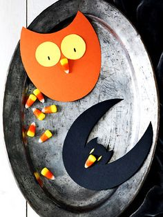 Easy Halloween Candy Corn Crafts WomansDay.com--cute easy owl--add some feet?