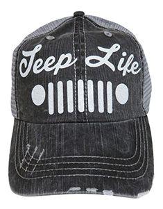White Glitter Jeep Life Distressed Look Grey Trucker Cap Hat 54f4f8482070