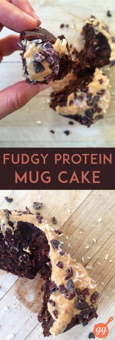 Fudgy Protein Mug Cake (dairy-free, grain-free) | GrokGrub.com #healthy