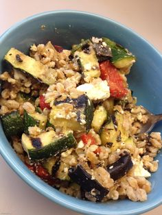 Farro Salad: Check out this yummy lunch Johannah likes to bring to the office -- whole grain farro, leftover grilled veggies (chopped peppers/zucchini/eggplant), and feta cheese. You can sub whole grain pasta, barley, bulgur, or quinoa for the farro. Great cold or warm!