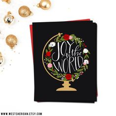 Clearance! Christmas Cards 5x7 - Hand Lettered Cards - Joy to the World by WestSheridan on Etsy https://www.etsy.com/listing/208210770/clearance-christmas-cards-5x7-hand