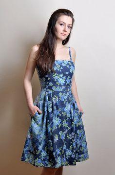 FREE SHIPPING Denim Floral Dress Acid washed by atelierMANIKA, $69.00