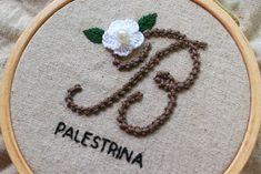 monogram hand embroidery tutorial initial stitch with Palestrina stitch Hand Embroidery Tutorial, Elsa, Initials, Monogram, Stitch, Stitching, Needlepoint, Full Stop, Monograms