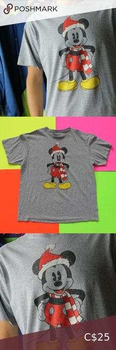 "Christmas Mickey Mouse Disney T-Shirt Christmas Mickey Mouse Disney T-Shirt  SIZE: XL Great condition! A number of light stains on the tee frontside. CHEST 23"" BACK 29"" BRAND: disney FABRIC: 99% Cotton 1% Poly Country of origin: Honduras Colour: Grey TheBandTee.Shop Disney Shirts Tees - Short Sleeve"