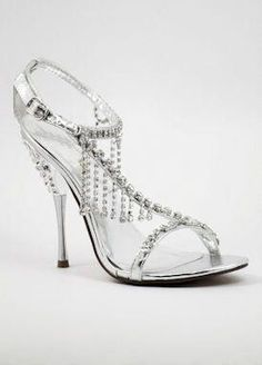4b7d3c44da7 Silver Prom shoes with 4 heels (Style