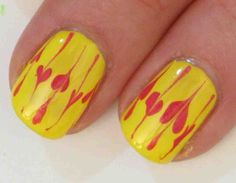 Dry/Drag Marbling Yellow/Pink Manicure - Nail Art Tutorial