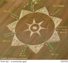 "On June 20, 2011 a formation appeared in Poirino (photo), showing a beautiful star with seven points, encased in a larger star, also with seven points and surrounded by a set of tiny identical circles, the whole motif perfectly laid out. The ""Poirino 2011"" also contains some coded information. Among other things, the outer rim contains the names ""Enki Ea"", coded in ASCII. These are names of a Sumerian god: Lord of the earth, god of water, creator of mankind, etc.."