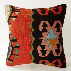 Turkish Anadolu Kilim Pillow -- oh my, so love this!  there's my beloved persimmon orange mm