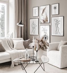 Gallery Wall Inspiration - Shop your Gallery Wall Beige Living Rooms, Home Living Room, Living Room Designs, Living Room Decor Grey And White, Neutral Living Rooms, Barn Living, Grey Home Decor, Cozy Living Rooms, Dining Rooms
