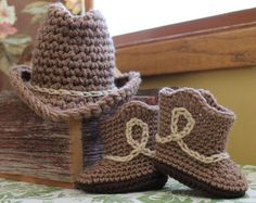 Newborn Baby cowboy hat and boots set