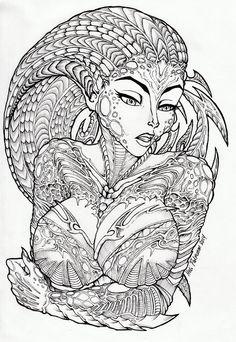 Alien Lady + Lineart+ by Volvom... on @deviantART Fantasy Coloring pages colouring adult detailed advanced printable Kleuren voor volwassenen coloriage pour adulte anti-stress kleurplaat voor volwassenen