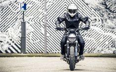 Download wallpapers 4k, Husqvarna Svartpilen 401, rider, 2018 bikes, superbikes, Husqvarna
