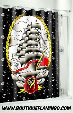 Sourpuss Clipper SHIP Shower Curtain Bath Rockabilly Punk Pin Up Tattoo Nautical Nautical Shower Curtains, Octopus Shower Curtains, Shower Curtain Rings, Fabric Shower Curtains, Pirate Bathroom, Monkey Bathroom, Mermaid Bathroom, Pin Up Tattoos, Punk Tattoo